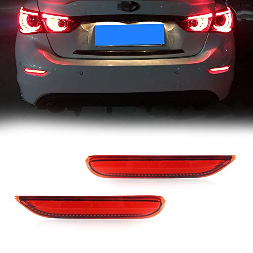 GTINTHEBOX 3D Optic Red LED Rear Bumper Reflector Brake