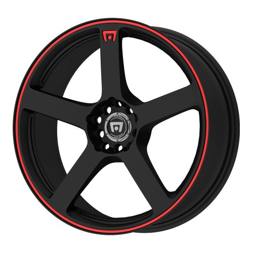 "MR116 Matte Black Wheel With Red Racing Stripe 18x8""/5x112"