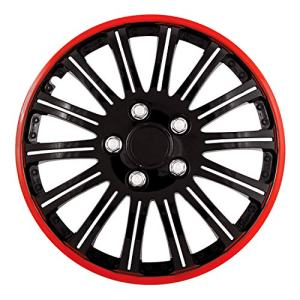 Red Trim 16 Inch Universal Fit Cobra Black Wheel Covers - Set of 4