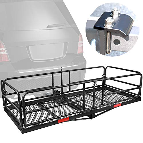 XCAR Hitch Mount High Side Cargo Carrier Rack Luggage Basket