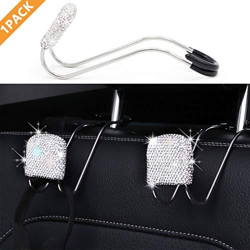 1Pack Bling Car Headrest Hooks, Metal Hanger Holder