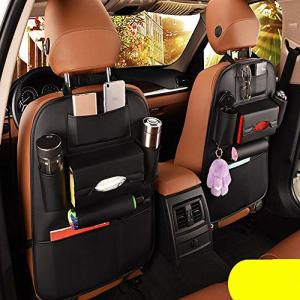 2 Pack PU Leather Premium Car SeatBack Organizer Travel Accessories