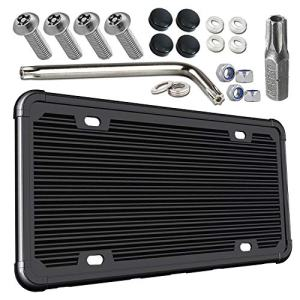 Black Silicone Car Plate Holder and Stainless Steel Tamper-Proof Screws kit