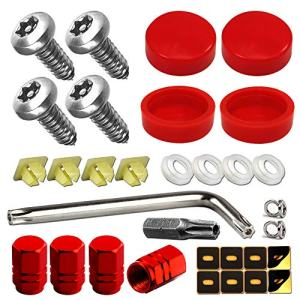 Red License Plate Screws Caps Fastening Holder Frame Cover