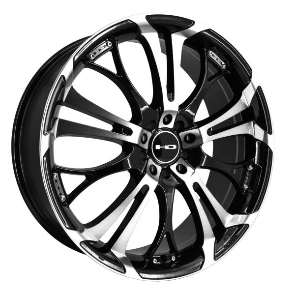 "16"" Inch Wheel Rim Spinout 16x7 40mm 4 x 100/114.3 Black Machined"