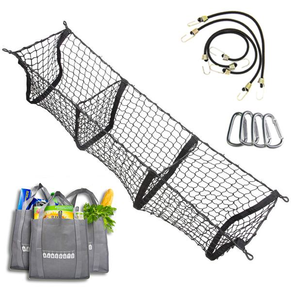 Trunk Cargo Organizer Three Pocket Mesh Storage Net