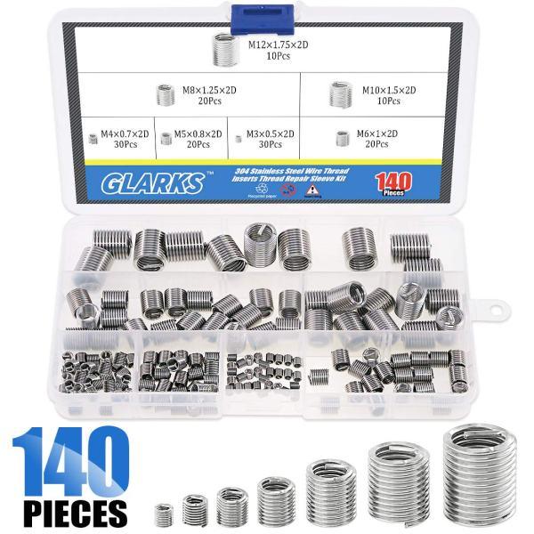 Glarks 140Pcs Stainless Steel Metric