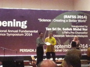 Our director Mr. Peter Lim received the recognition from Prof. Dr. Tahir Ahmad-Chairman RAFSS 2014