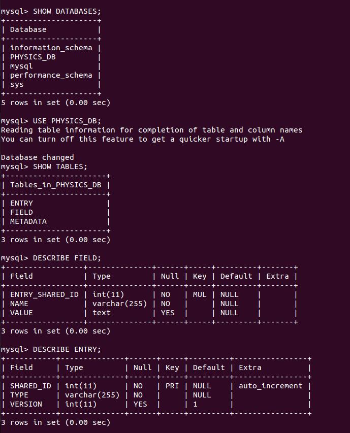 mySQL document for pdb