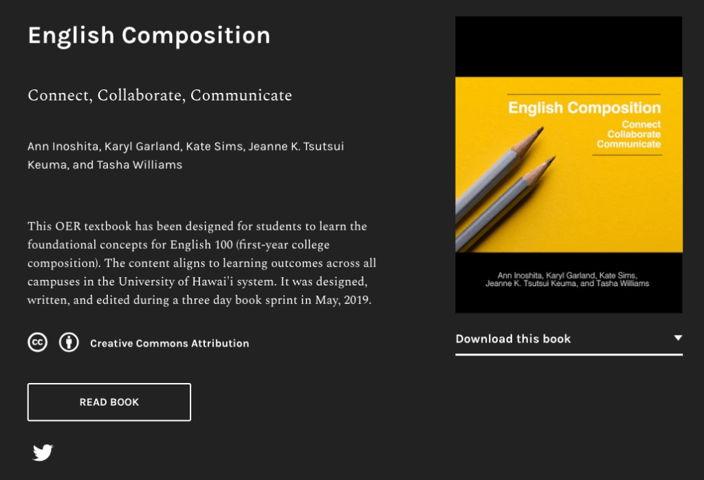 Screenshot of English Composition OER textbook