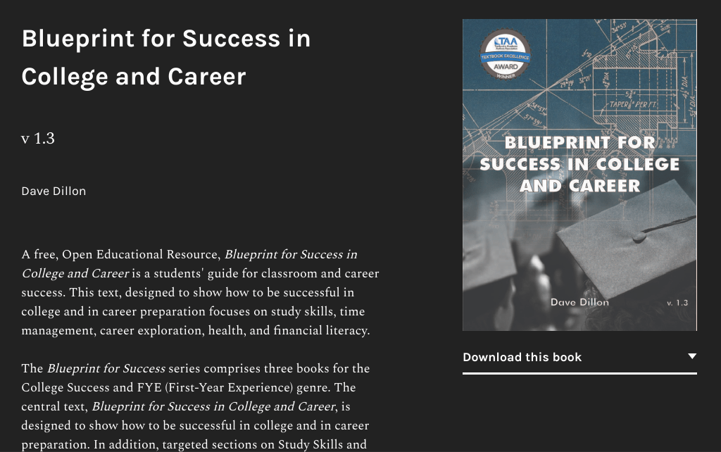 Screenshot of Blueprint for College Success in College and Career OER textbook