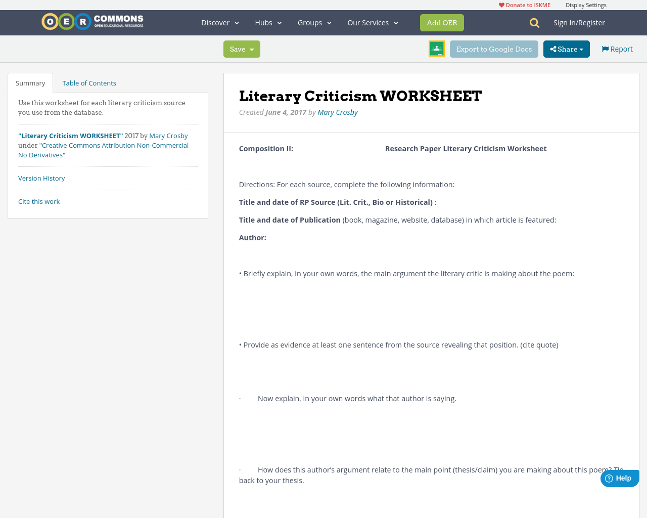 Literary Criticism Worksheet
