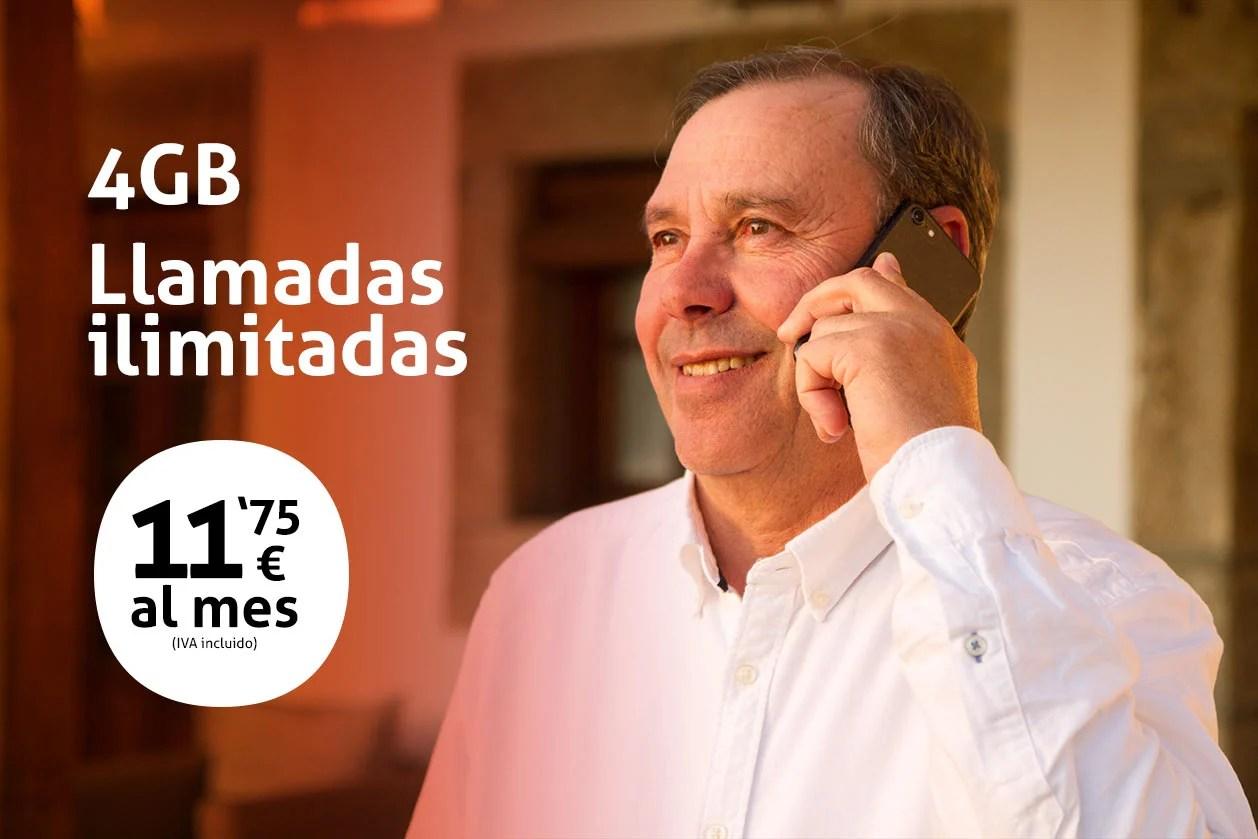 Tarifa móvil 4GB llamadas ilimitadas 11,75€ al mes