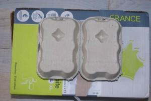 Boites d'oeufs non conditionnées, sur un colis de taille L colissimo.