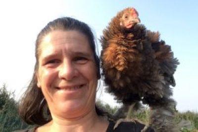 Fala, poulet frisé, perché sur mon épaule