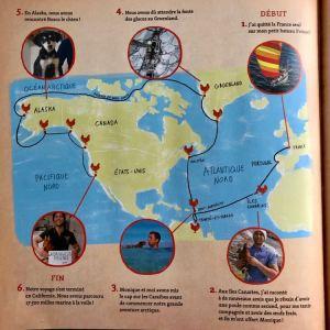 Extrait du livre : carte du périple de Guirec Soudée et Monique