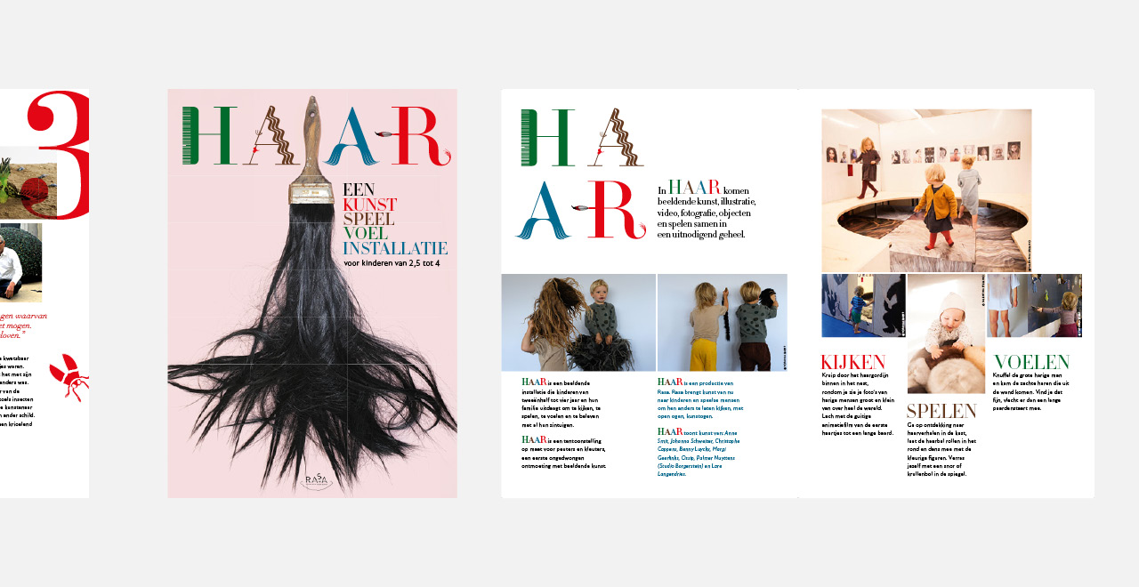Campaign design and brochure 'Hair' an exhibition by Rasa