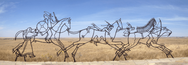 Indian memorial at the Battle of Greasy Grass Creek at the Little Bighorn Battlefield National Monument