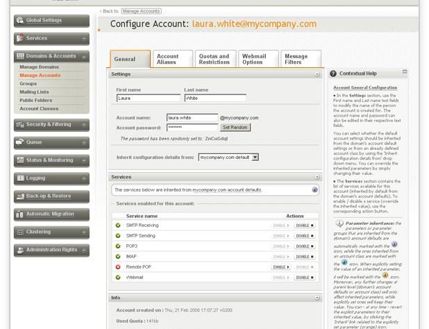 Axigen 8 Web Administration Screen - Free Ubuntu Mail Server