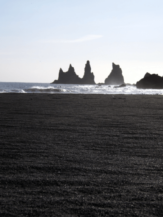 The sea stacks are held in legend to be the masts of a ship sunk by trolls at Reynisdrangar.