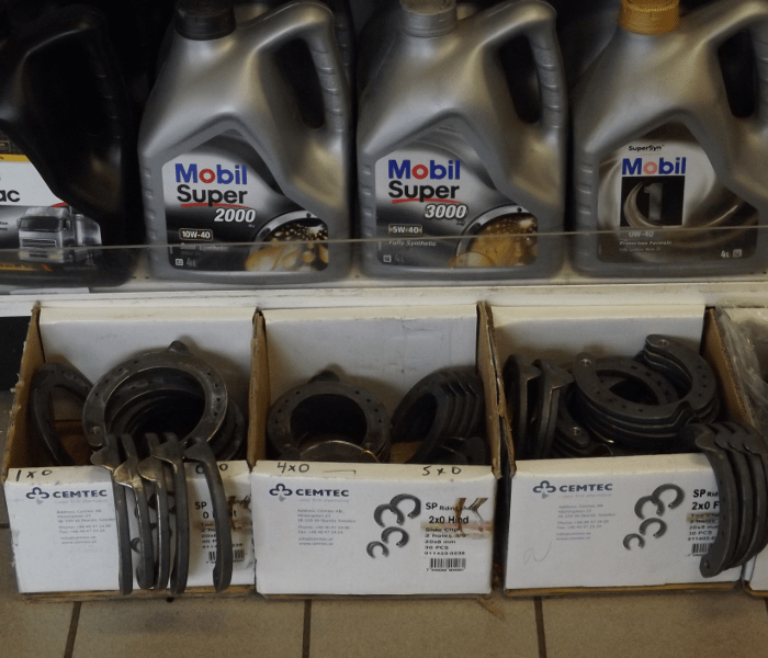 A convenience store had all the fundamentals for transportation in Iceland: horse shoes and motor oil