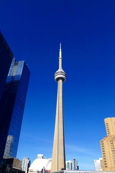 CN Tower, Toronto, with a blue sky, taken from the Union Station railway platform