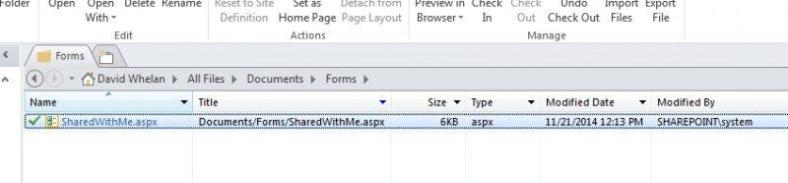 Sharedwithme.aspx shown in the Documents/Forms folder on SharePoint in SharePoint Designer