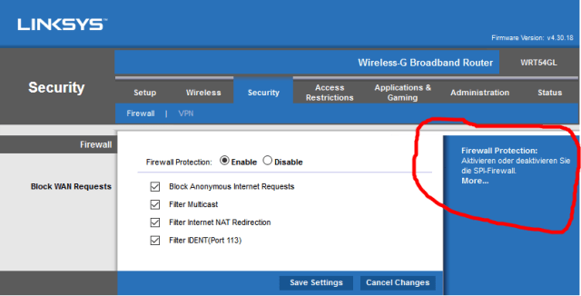 Sprechen sie router?  English language interface on Linksys router has mixture of English and German instructions.