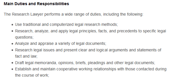 Screenshot of a job posting for a Canadian law firm research lawyer.
