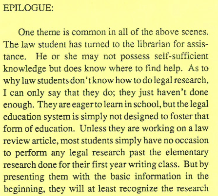 A screenshot from a 1988 newsletter about law students and legal research