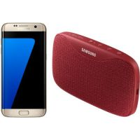 Telefon mobil Samsung GALAXY S7 Edge, 32GB, 4G, Gold + Boxa portabila Samsung Level Box Slim, Red