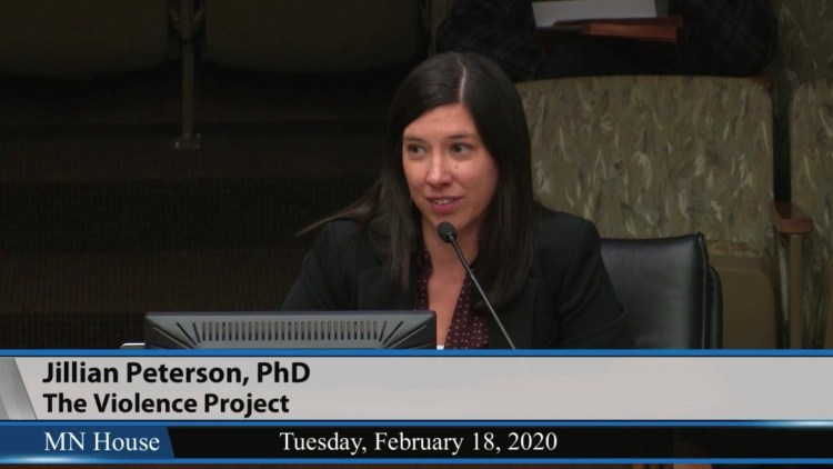 Jillian Peterson presenting to the MN House Education Committee