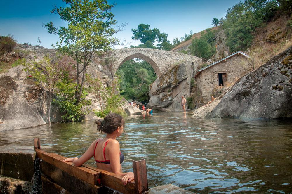 Girl in Gradeshka River near the Movie Bridge in Zovich village