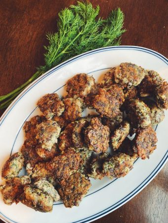 Chicken and Gizzard Meatballs with Dill on a serving platter