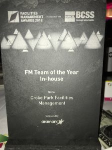 Ryans Cleaning scoop top Facilities Management Award as part of Croke Park's In-House Facilities Management Team