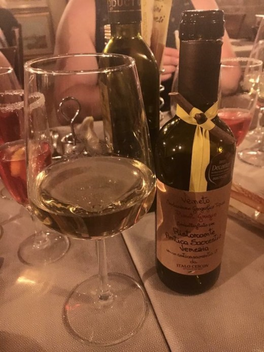 Wine at Ristorante Antica Sacrestia in Venice Italy
