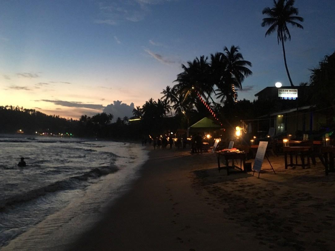 Mirissa beach at night
