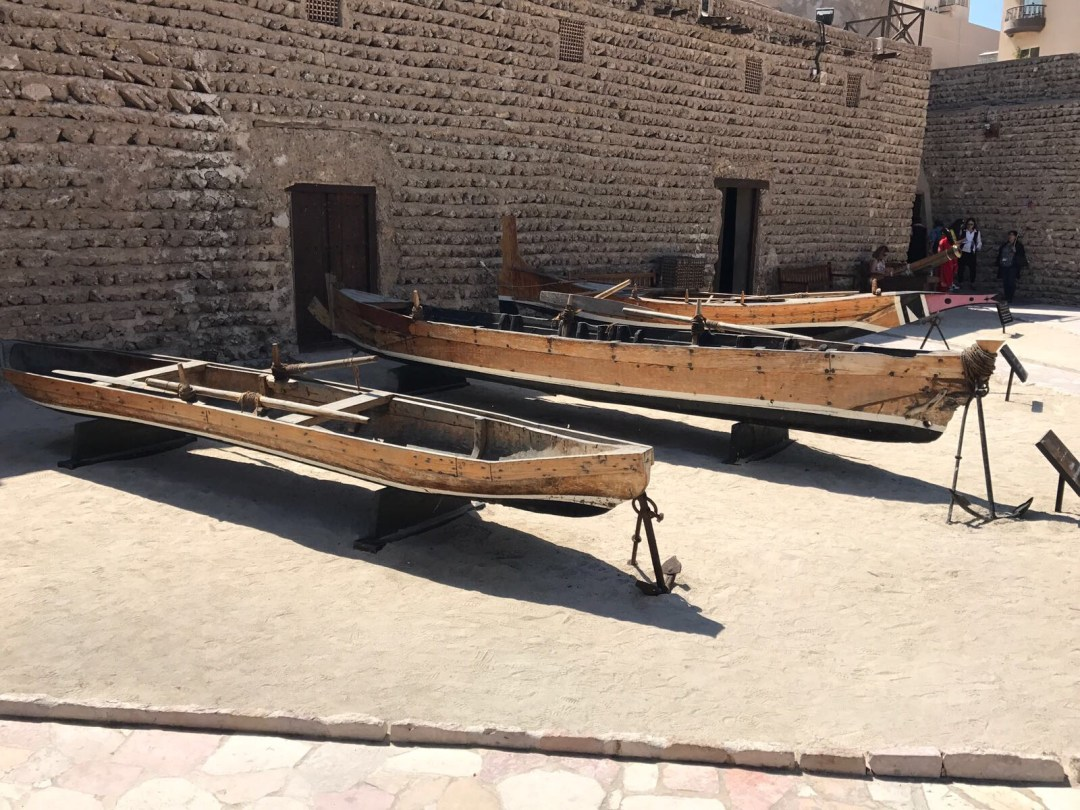 Old wooden boats in Old Town Dubai