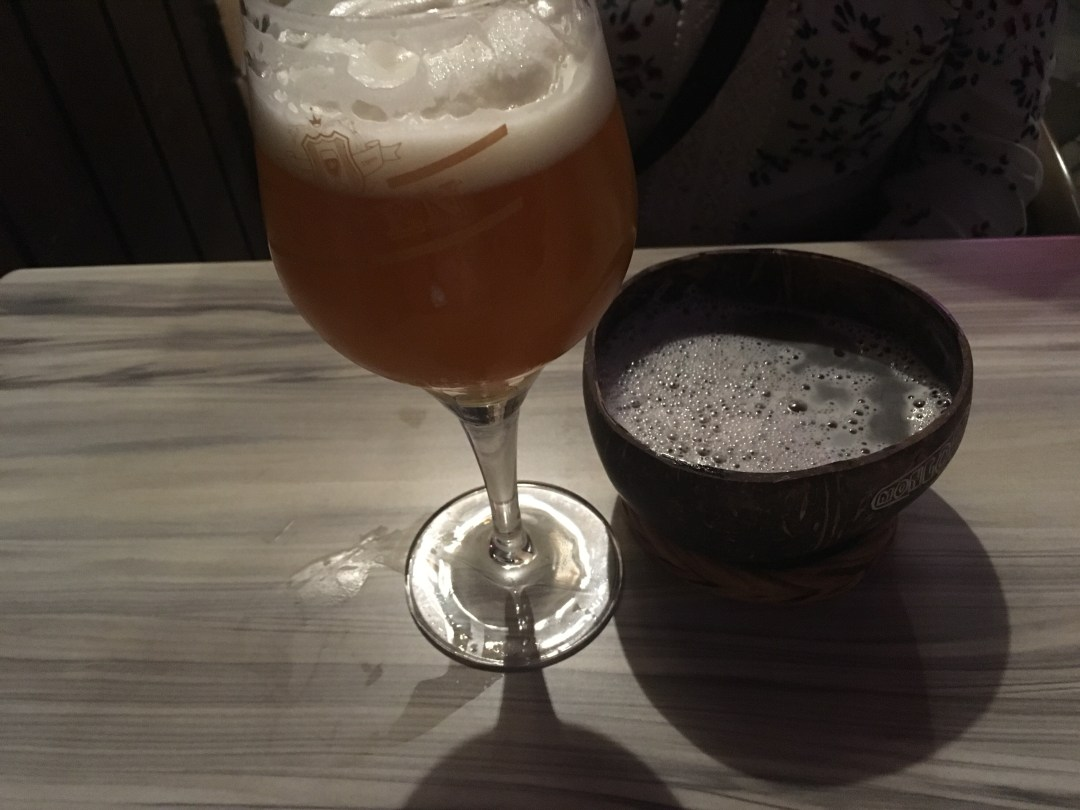 Belgian beer and beer in a coconut