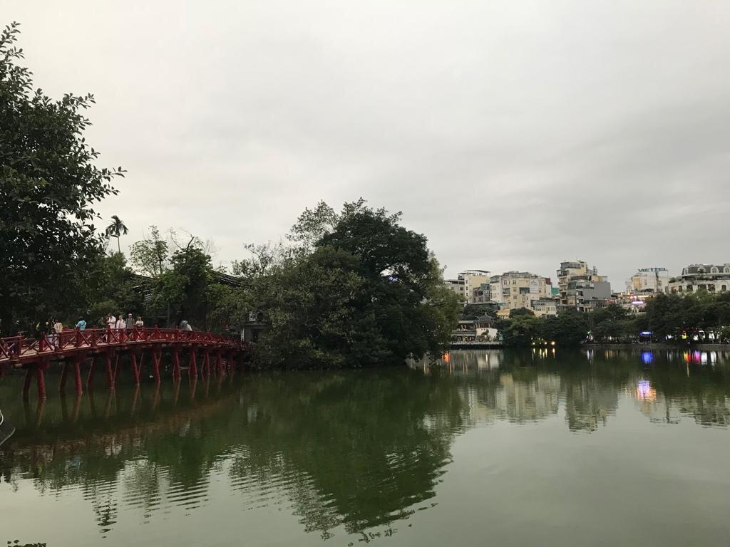 Hoan Kiem Lake and red bridge