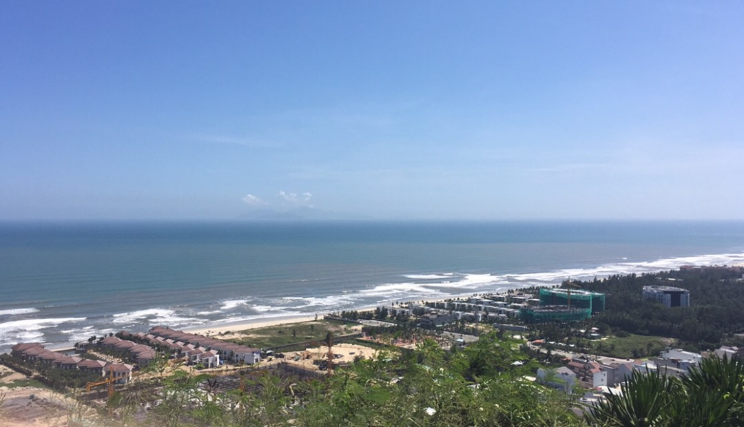 View of beach near Da Nang from top of Water Mountain in Marble Mountains