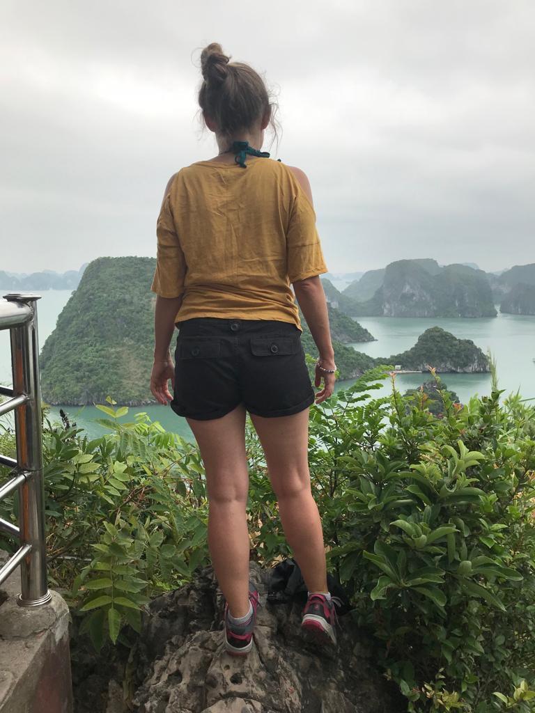 Girl looking out at Ha Long Bay Vietnam