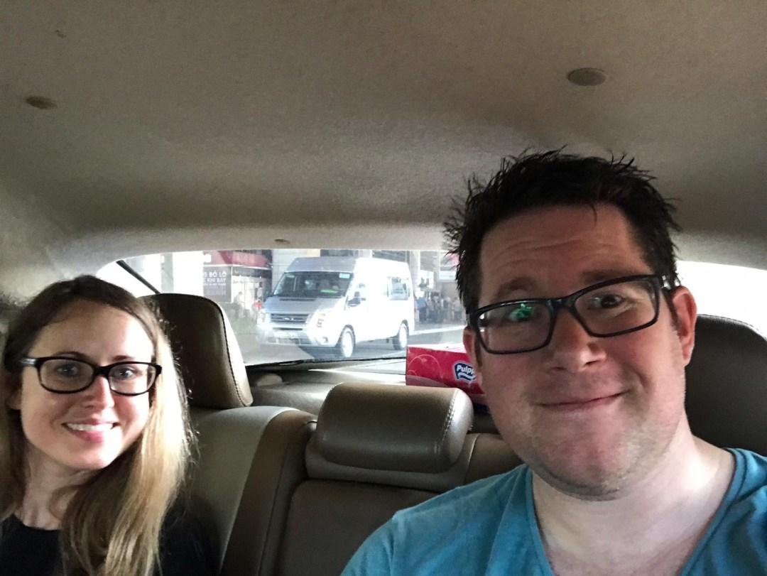 Couple in cab in Vietnam