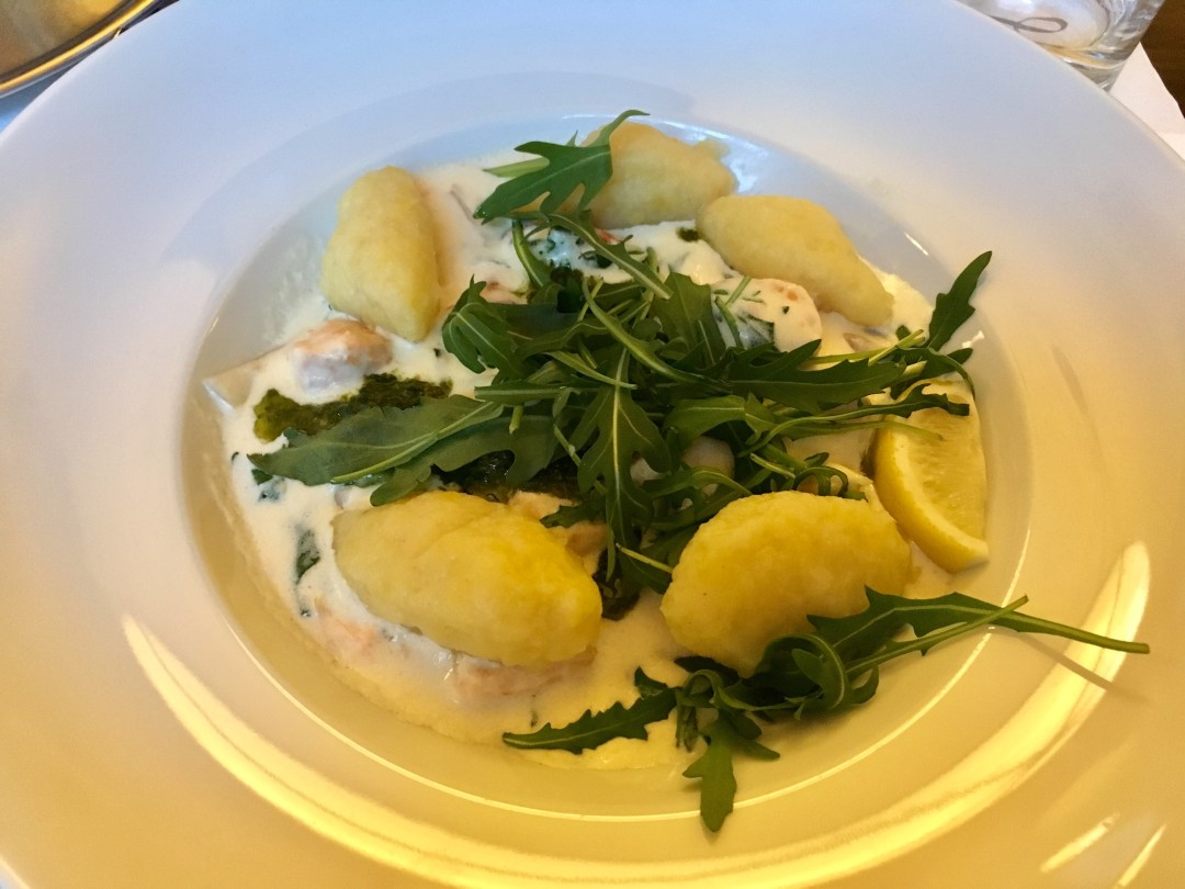 Gnocchi, Salmon and creamy pesto at Cafe Louvre in Prague