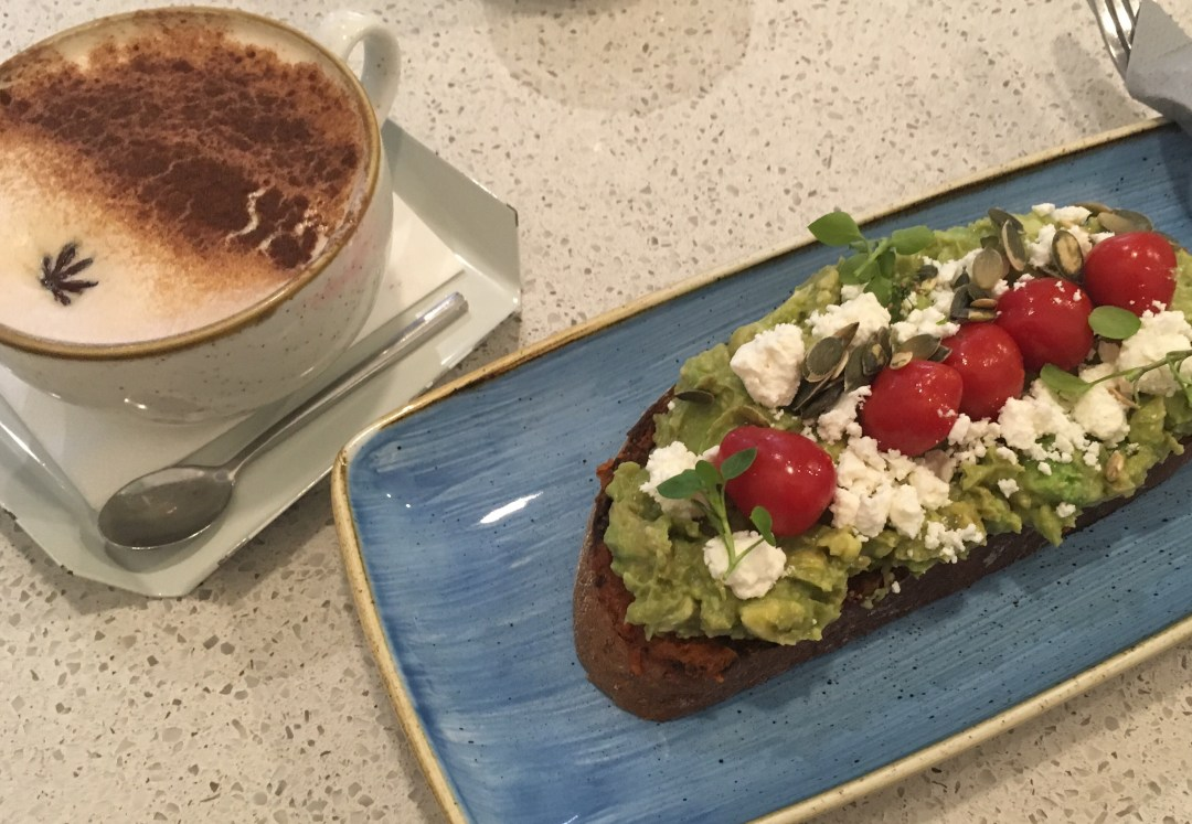 Chai Latte and Avocado on toast at  Pauseteria - brunch in Prague