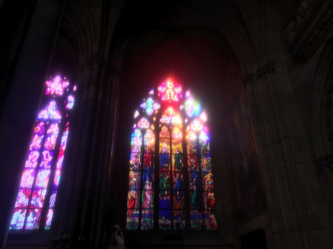 stained glass inside cathedral at Prague Castle