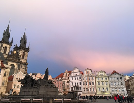Prague Old Town Square Jan Hus Memorial sunset
