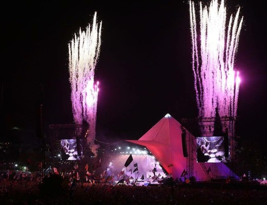 fireworks during Foo Fighters performance on Pyramid Stage at Glastonbury 2017 Music festival