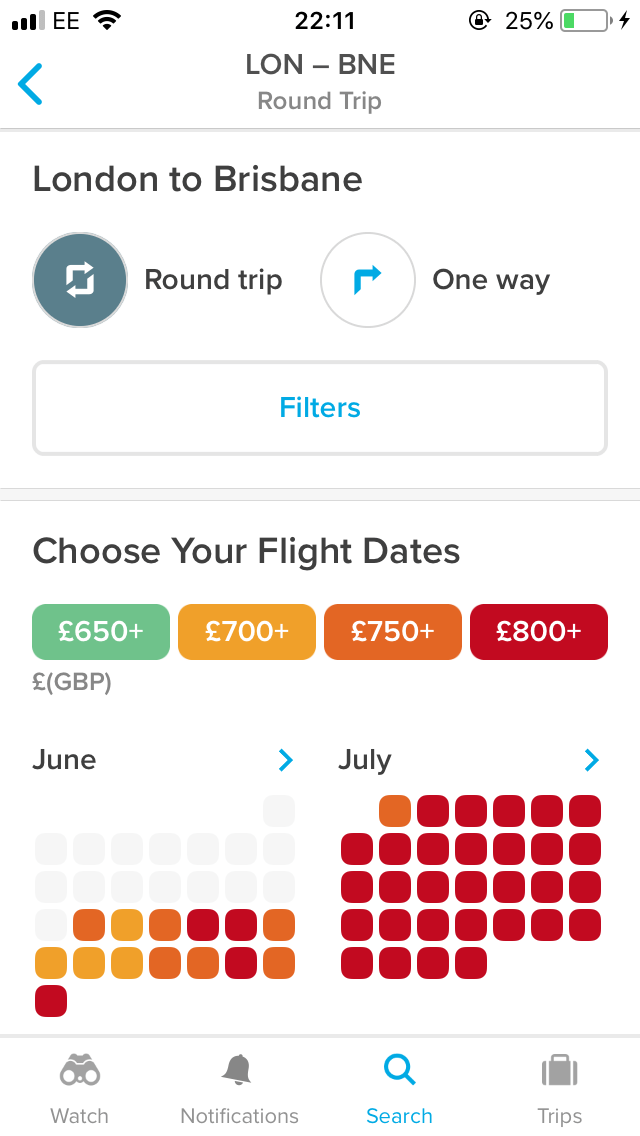 Screenshot of Hopper app searching for best flight prices by date London to Brisbane