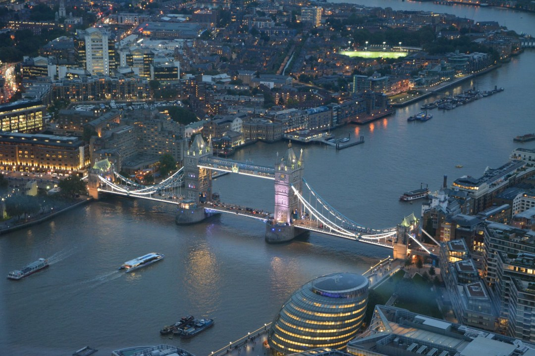 central london from the sky during evening overlooking tower bridge